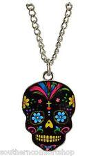 Day of the Dead Dia De Los Muertos Sugar Skull Necklace Charm Black