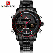 NAVIFORCE Luxury Full Steel Quartz Clock Digital LED Military Sport watch orange