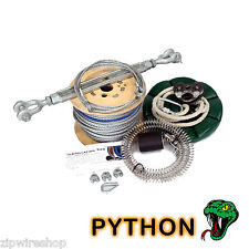 PYTHON 50m GARDEN ZIP WIRE PACKAGE / ZIP LINE KIT 8mm WIRE ROPE + BUTTON SEAT