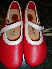 BIRKENSTOCKS FOOTPRINTS Germany red with white trim Mary Janes 39 (8) NEW NO BOX
