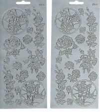 ROSES - SILVER ASSORTED ROSES 516 PEEL OFF STICKERS - 2 SHEETS