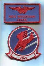 NICK GOOSE BRADSHAW TOP GUN MOVIE COSTUME US Navy Name Tag Squadron Patch Set
