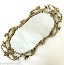 NEW GOLDEN BRASS VINTAGE FLORAL DECORATIVE VANITY TRAY MIRROR+BOX DT-15