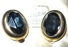 VINTAGE Signed Sapphire BLUE Crystal Large Gold Plate Costume Jewellery EARRINGS