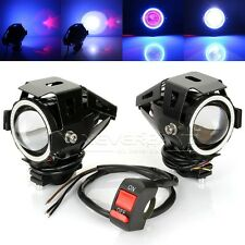 2pcs Motorcycle 125W U7 LED Spot Fog Head Light+Switch For Harley Universal
