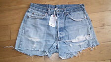 Reclaimed Levis 501 Vintage Distressed Denim Cut Off Shorts sz 12 uk