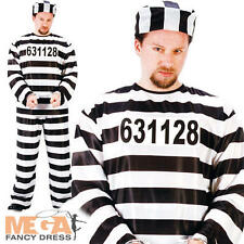 Prisoner Mens Fancy Dress Adults Jail Convict Cops & Robbers Uniform Costume New