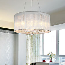 EU SHIP Silver Drum Glass Pendant Light Modern Chrome Crystal Chandelier Fixture