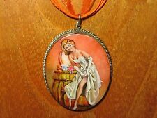 Genuine Hand Made Shell in German Silver Beautiful Girl PIN - UP Model pendant