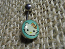 """316L SURGICAL STEEL HELLO KITTY NAVEL / BELLY BARS  7/16""""(12mm)  BLUE no stone"""