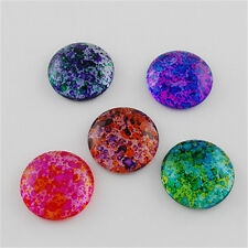 10PCS Transparent Spray Painted Glass Cabochons Diy Dome Flat Round Mixed Color