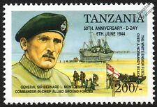 D-Day General Montgomery & Landing Craft Ship on Normandy Beach WWII Stamp