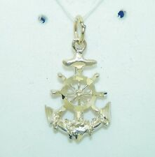 CUT ANCHOR WITH WHEEL PENDANT SOLID 10K GOLD