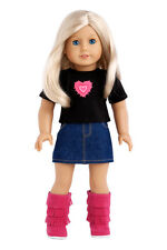 Rock Star - Doll Clothes for 18 American Girl Jeans Mini Skirt T-Shirt Pink Boot