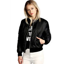 Various Women Classic Bomber Jacket Ladies Vintage Zip Up Biker Coat Outwear Top