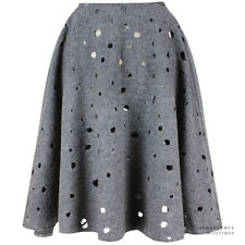 J W Anderson Charcoal Grey Perforated Wool Flared Circular Skirt UK8 IT40