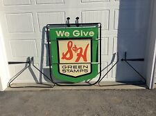 Vintage Original  S&H GREEN STAMPS Metal Embossed Stout Sign Co. 53 x 47 History