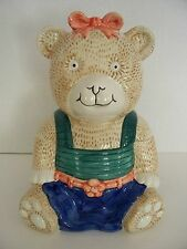 MIKASA Teddy Bear Cookie Jar Canister Ceramic Handpainted Storage Child