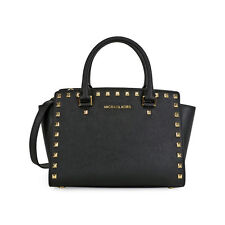 Michael Kors Selma Studded Saffiano Leather Satchel - Black