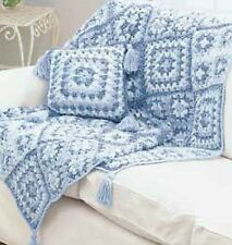 denimstyle granny square throw and pillow crochet pattern 99p