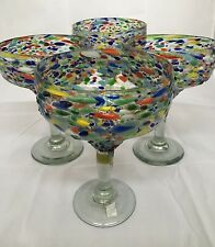 SET OF 4 MEXICAN CONFETTI WITH COLOR PEBBLES HANDBLOWN MARGARITA GLASSES