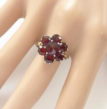 Vintage Rose Cut Garnet 8K 333 Gold Cocktail Ring Size 8 Floral Flower