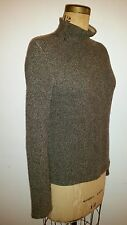 HERMES Sweater 100% Cashmere Black and Tan  Mock Turtleneck Made in Italy Size S
