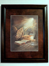 PRAYING HANDS PICTURE SAYING GRACE RELIGIOUS MATTED FRAMED 11X14