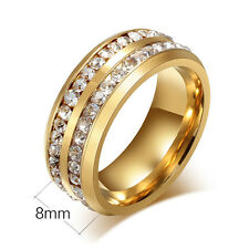 Men/Women's Fashion Crystal Stainless Steel Ring Wedding Band Gold/Silver/Black