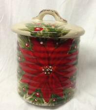 "TABLETOPS CHRISTMAS CAROL SUGAR BOWL 4 3/4"" RED FLOWERS POINSETTIA HOLIDAY"