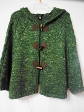 BCBG Max Azria Women Small Mohair Blend Toggle Button Hooded Sweater Cape Poncho