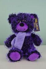 "Kellytoy Purple Bear w/ Scarf 9"" Two Tone Needle Plush Stuffed Animal w/Tags"
