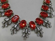 GORGEOUS VINTAGE INSPIRED RED CRYSTAL STATEMENT NECKLACE! BRAND NEW!