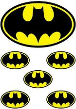 1 LARGE & 5 SMALL BATMAN LOGO IRON ON T SHIRT TRANSFERS WHITE/LIGHT FABRICS