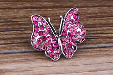 NEW Rose Rhinestone butterfly Charm Chunk Snap Button fit for Noosa Bracelet B76