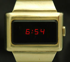 OMEGA LED Digital Time Computer WATCH TC1 RED GOLD Constellation RARE 1600 VTG X