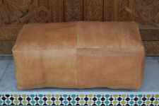 Large Moroccan Leather Ottoman Pouffe Pouf Footstool Coffee Table In Tan