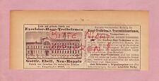 NEU-RUPPIN, Werbung 1893, Gottfr. Ebell Excelsior-Haar-Treibriemen Fabrik