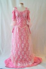 Vintage pink edwardian victorian lace dress theatre costume Size 16