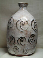 Large Mid-Century Mod Hand Turned Stoneware Swirl Motif Vase by Roy, Dated 1969