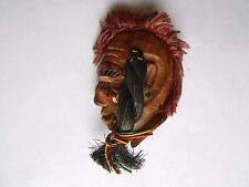 Vintage Carved Wood Mohican Style Indian Head Pinback Brooch