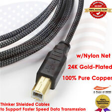 6' USB 2.0 GOLD A-B Printer Cable w/Nylon Net Jacket for HP/Brother 6 Feet