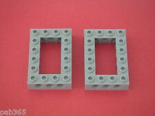 Lego Technic  2 Light Bluish Gray bricks 4x6 Open Center Neuves / New REF 40344