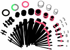 36 PC Set Ear Stretching Tapers Plugs Starter Kit 00g to 14 G Black Color Glow