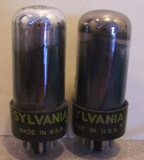 PAIR VINTAGE SYLVANIA 6V6 GTA MATCHING GUITAR AMP RADIO TUBES TV7 TEST GOOD+!