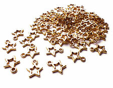 75 x 12mm Nice quality Gold Plated Open Star Charms, Christmas Craft Jewellery