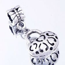 Silver Plated Dangle Hollow Charms Beads Lock Pendant FIt European Bracelet
