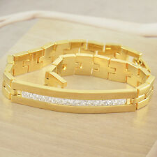 Mens Womens Cubic Zirconia 14K Yellow Real Gold Filled Chain Bracelet 7.87 inch