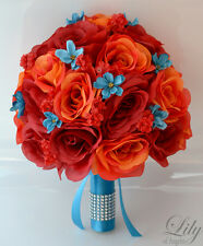 17pcs Wedding Bridal Bouquet Silk Flower Decoration Package RED ORANGE TURQUOISE