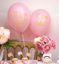 """PINK BABY SHOWER BALLOONS x 8 - """"It's A Girl"""" Wording - BABY SHOWER DECORATION"""